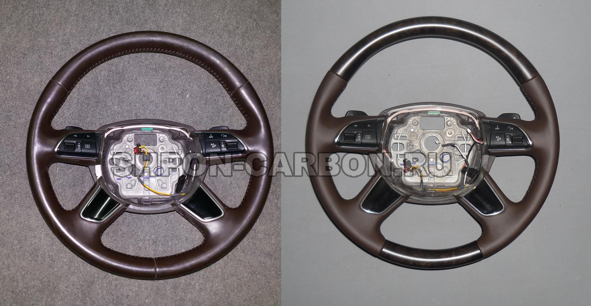 Изготовление декоративных вставок из натурального шпона + сохранение подогрева + перешив руля Audi A8 (Ауди А8)