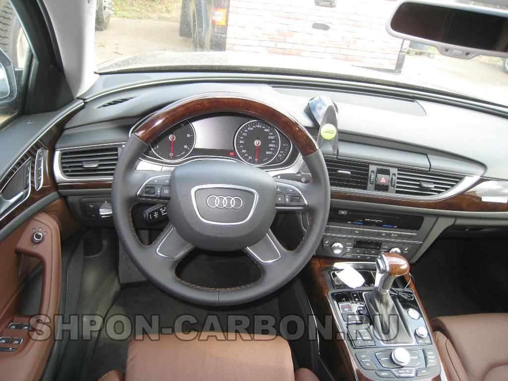 Изготовление декоративной вставки из натурального шпона (дерева) + сохранение подогрева + перетяжка руля в кожу Audi A6 (Ауди А6)