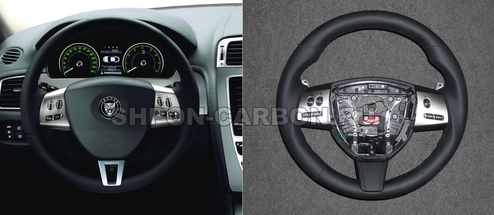 Изменение анатомии руля + сохранение подогрева + перетяжка руля в кожу автомобиля Jaguar XKR (Ягуар ХКР)